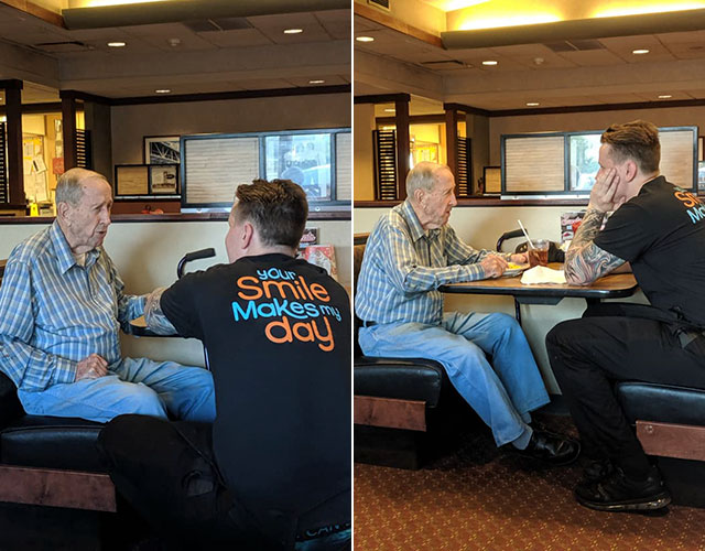 waiter sits down with 91 year old veteran